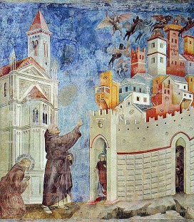 Francis of Assisi casts out demons from a city