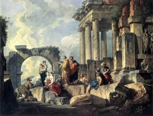 Paul preaching the Gospel. Art by Giovanni Paolo