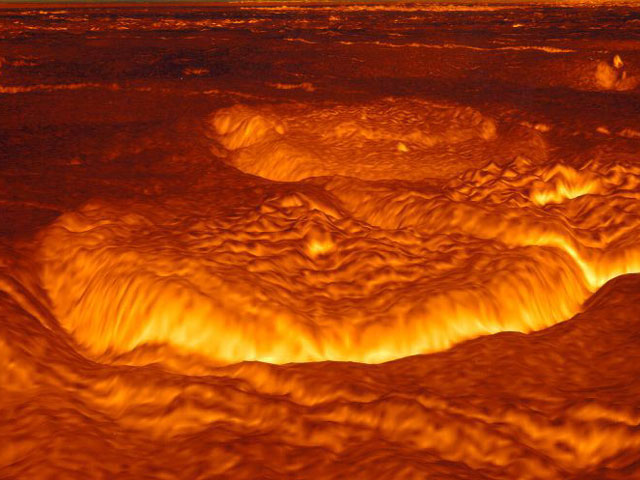 Surface of Venus, a planet with lots of greenhouse gases